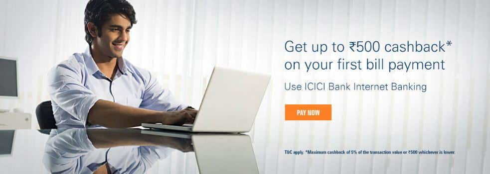 ICICI Bank – Get 5% Cashback on Electricity, Gas, Landline