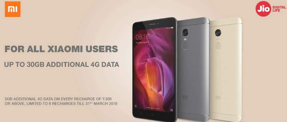 Jio Xiaomi Offer – Free upto 30GB 4G Data for All Xiaomi Mobile Users