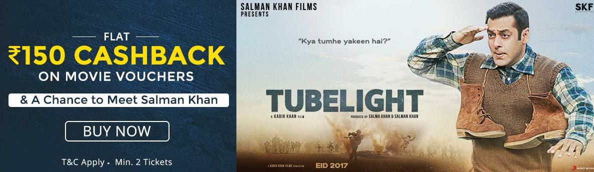 Paytm Tubelight Offer– Get 50% Cashback on Booking Ticket