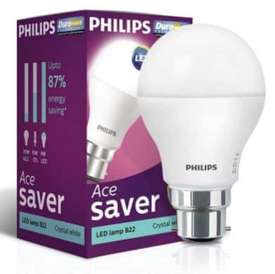 Amazon Offers - Buy Philips Base B22 9-Watt Round LED Bulb Pack of 2