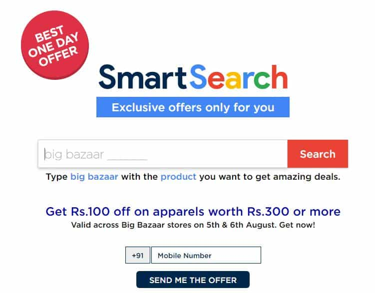BigBazaar Smart Search Offers: Get Rs 100 Coupons Free n More