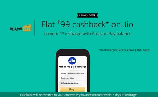 Amazon Jio Recharge -Get Rs 99 Cashback on Jio Recharge of