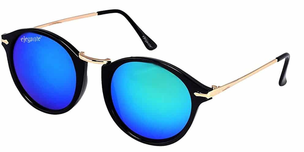 AMAZON -Elegante UV Protected Blue Mirrored Round Sunglasses for Men and Women