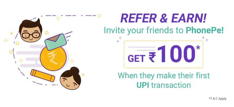 PhonePe Refer and Earn Offer – Get 50% Cashback on First & Fifth UPI Pay + Rs 100 per Referral