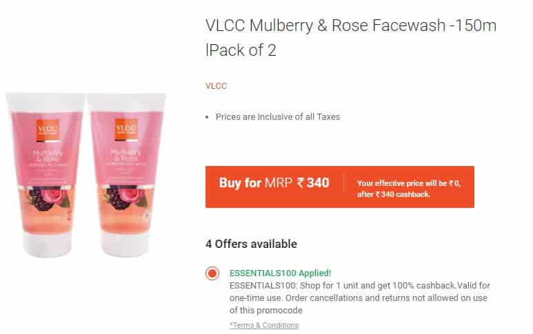 (100) Paytm Mall – Get 100% Cashback on VLCC Products