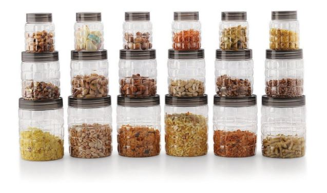 Deal Today- Cello Checkers Plastic PET Canister Set, 18 Pieces, Clear