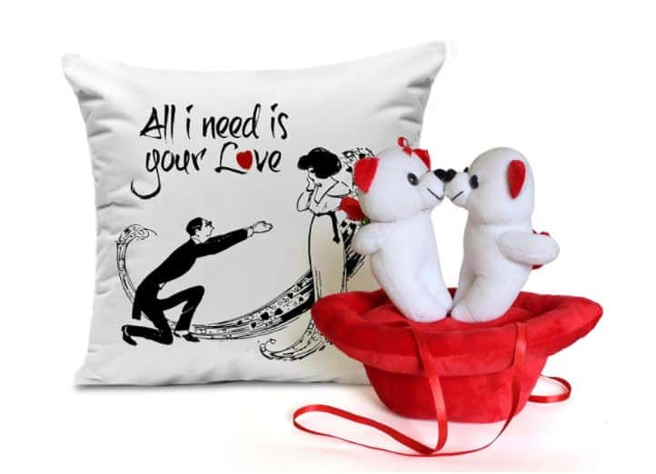 Valentine Gift Amazon- Girls Boys Printed Cushion with Filler and Couple Teddy Bear
