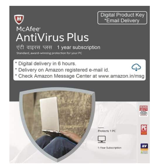 Amazon Safe Scan- McAfee Anti-Virus - 1 PC, 1 Year (Digital Delivery in 6 hours)