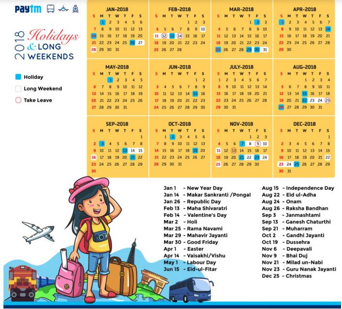Paytm Free Calendar 2018- Get Calendar for Free at paytm