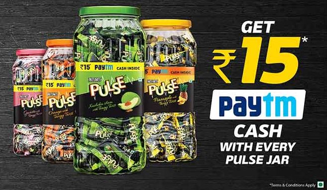 Paytm Pulse Candy Offer- Get Rs 15 Paytm Cash FREE on Pulse Jar
