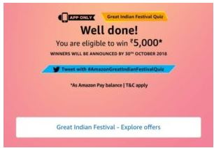 (All Answer) Amazon Great Indian Festival Quiz – Win Rs.5000 1