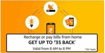 Amazon 100% Cashback upto Rs 35 on Recharge & Bill Pay