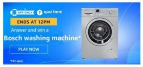 Today Amazon Quiz Answer 30 May 2020- Win Bosch Washing Machine for free