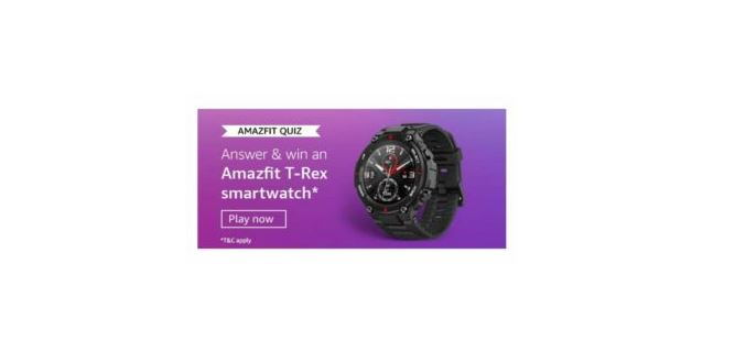 Today Amazon Quiz Answer 1 June 2020- Win Amazon Amazfit T-Rex Smartwatch for free